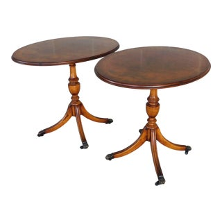 Regency Style Mahogany With Burl Walnut Accent Tables - a Pair For Sale