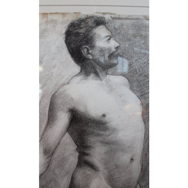 French George Rabb Male Nude Drawing For Sale - Image 3 of 4