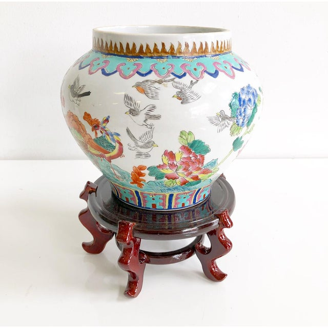 Vintage Multi Colored Chinoiserie Style Ginger Jar Vase On Stand