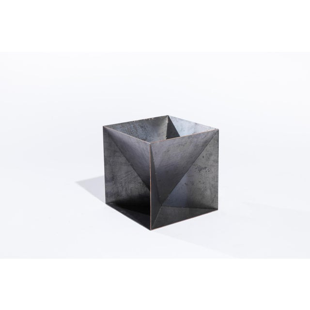 Trey Jones Studio Weathering Steel Origami Planter For Sale In Washington DC - Image 6 of 10