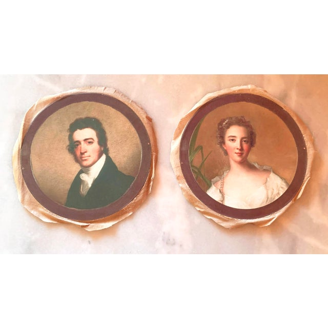 Farmhouse Antique Style Round Portraits of a Gentleman and Lady on Canvas - Set of 2 For Sale - Image 3 of 13
