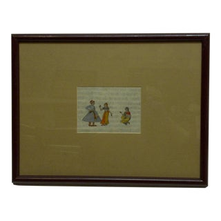 """Original Hand-Colored """"Indian Man & 2 Women"""" Framed and Matted Print"""