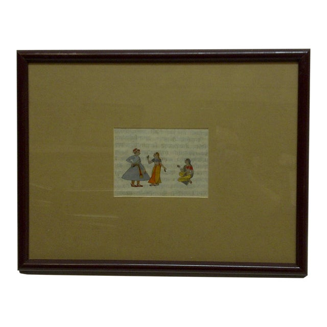 """Original Hand-Colored """"Indian Man & 2 Women"""" Framed and Matted Print For Sale"""
