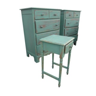 Coastal Cottage Maple Bedroom Set Vintage Maple Shabby Blue/Aqua 3 Piece Bedroom Suite Painted Maple Dressers Nightstand For Sale