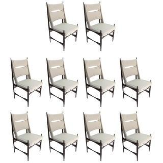 Set of Ten Midcentury Brazilian Dining Chairs in Beige Linen For Sale