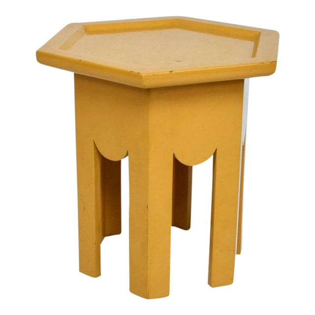 Yellow Lacquer Finish Hexagon Side Table For Sale