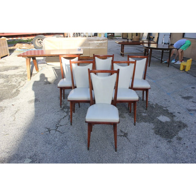 Set of six French Art Deco or Art modern dining chairs solid Mahogany, the chair frames are in excellent condition....
