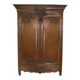 19th Century Carved Oak Marriage Armoire For Sale