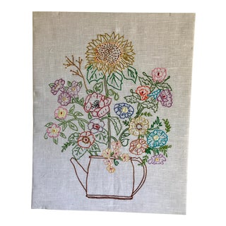 Vintage Linen Cross-Stitch Wall Art For Sale