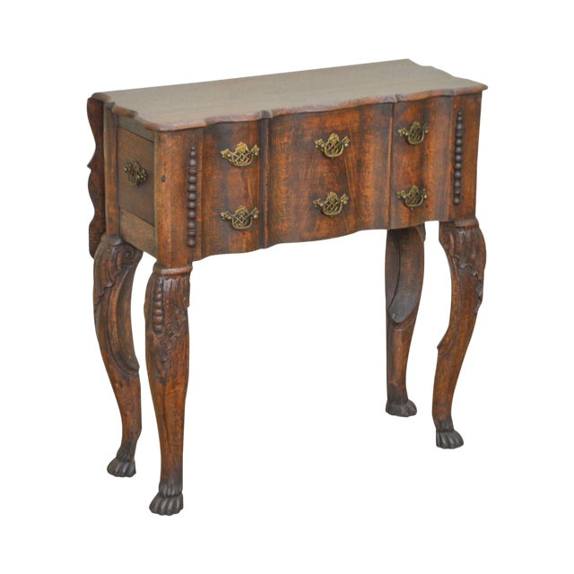 Georgian Style Antique 19th Century English Oak Dropleaf Narrow Console Table For Sale