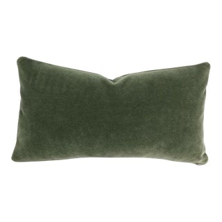 F. Schumacher San Carlo Mohair Velvet in Moss Lumbar Pillow Cover For Sale