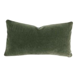 F. Schumacher San Carlo Mohair Velvet in Moss Lumbar Pillow Cover For Sale