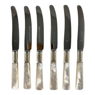 Marhill of New York Mother of Pearl and Sterling Silver Spreaders, a Set of Six For Sale