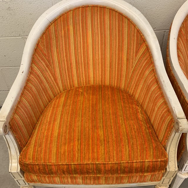 Vintage French Style Barrel Back Chairs- a Pair For Sale In Richmond - Image 6 of 13