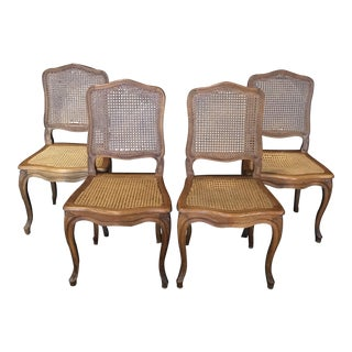 Classic Caned French Provincial Louis XV Style Walnut Dining Chairs - Set of 4 For Sale