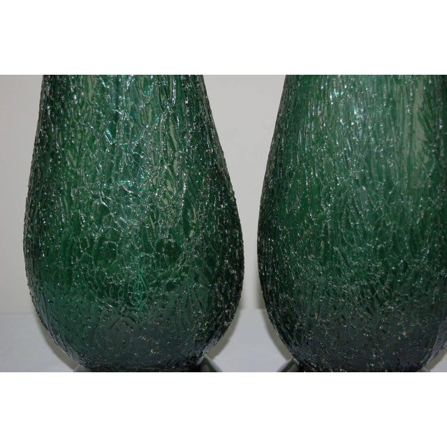 Vintage Murano Glass Table Lamps Green For Sale In Little Rock - Image 6 of 9