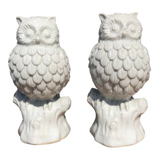 Japanese Porcelain Owls - a Pair For Sale