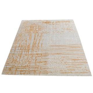 "Modern Contemporary Handmade Wool Bamboo Silk Gold Yellow Rug - 9'2""x12'2"""