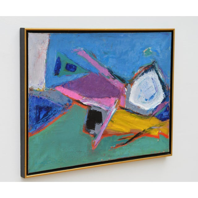 A midcentury abstract painting of sublime and vibrant palette. The illegibly signed and dated mixed medium canvas was...