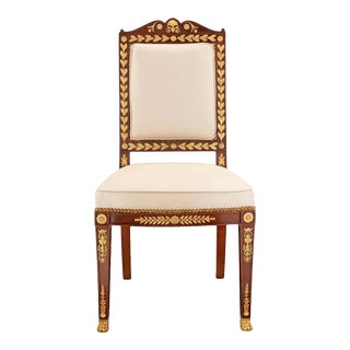Empire Ormolu and Solid Mahogany Side Chair For Sale