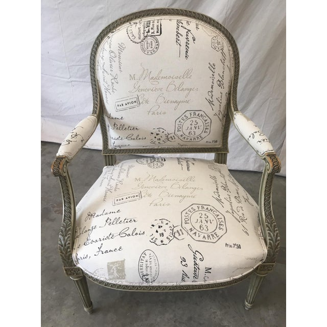 Wood French Antique Painted Armchairs - a Pair For Sale - Image 7 of 13