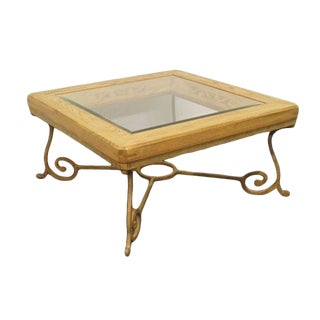 20th Century Contemporary Iron Base Beveled Glass Coffee Table For Sale