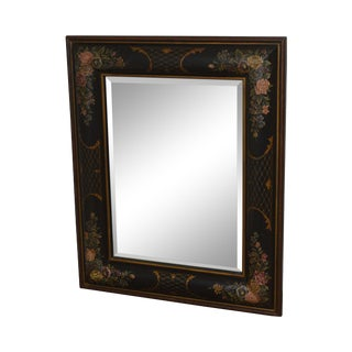 LaBarge Floral Painted Rectangular Beveled Wall Mirror For Sale