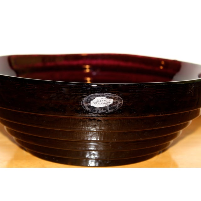Blenko Vintage Blenko Amethyst Serving / Decorative Bowl For Sale - Image 4 of 6