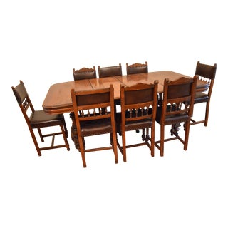 19th Century French Renaissance Carved Dining Set - 9 Pieces For Sale