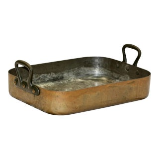 French Copper Roasting Pan For Sale