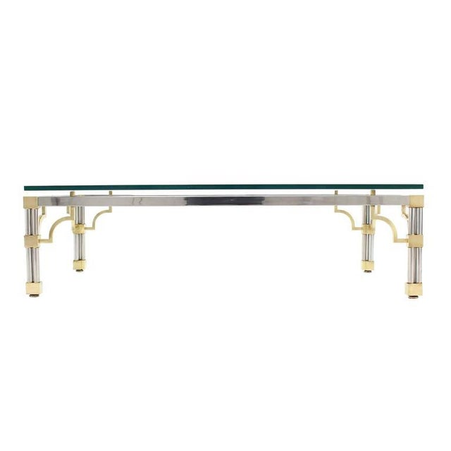 Mid-Century Modern Heavy Thick Glass Brass and Chrome Coffee Table For Sale - Image 3 of 8