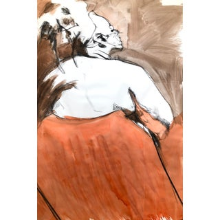 "Contemporary Figure Drawing in Orange and Black, ""Queen Gloria"" by David O. Smith For Sale"