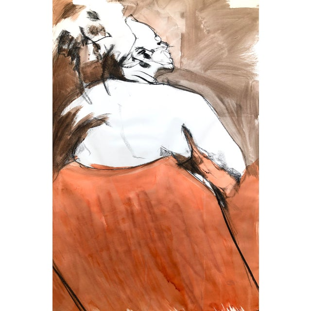 """Contemporary Figure Drawing in Orange and Black, """"Queen Gloria"""" by David O. Smith For Sale"""