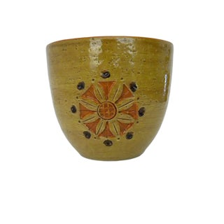 1990s Vintage Olive Green Ceramic Rosenthal Netter Indoor Planter For Sale