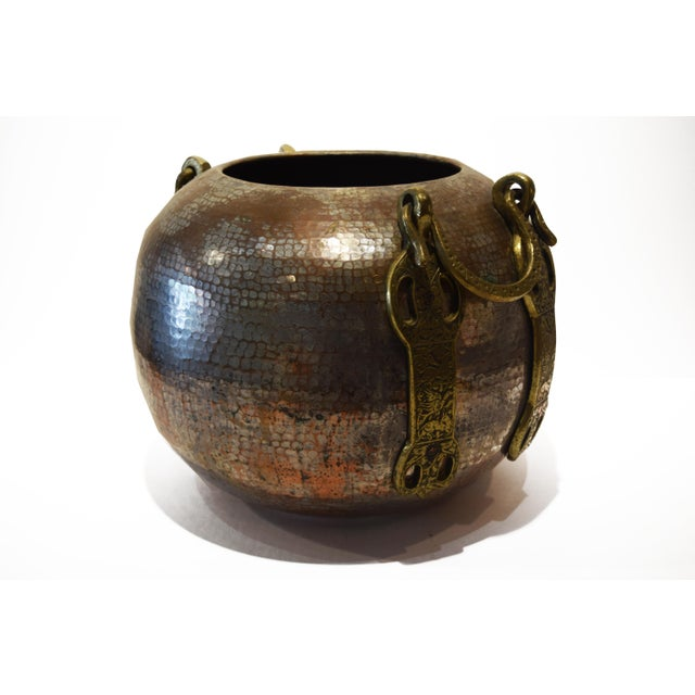 Islamic Turkish Tinned and Hammered, Copper Cauldron With Brass Handles For Sale - Image 3 of 9