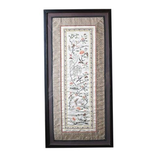 Chinese Silk Embroidered Tapestry Panel With Cranes and Floral Motif, Framed For Sale