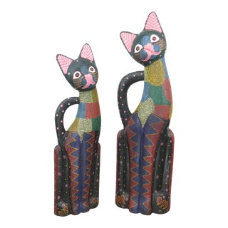 Vintage Large Balinese Hand Carved and Hand Painted Wooden Cat Sculptures - Set of 2 For Sale