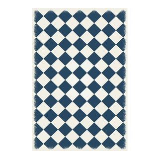 Blue & White Diamond European Design Rug - 4' X 6'