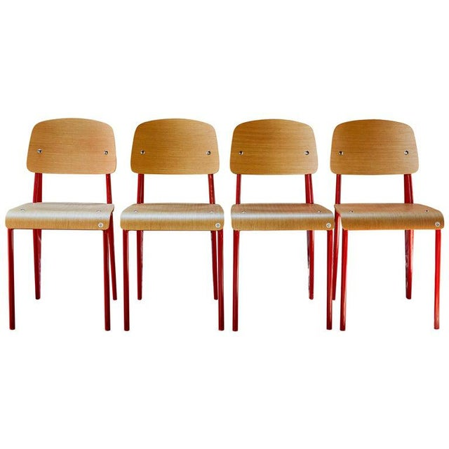 Late 20th Century Wood and Metal Chairs in the Style of Jean Prouvé- Set of 4 For Sale - Image 13 of 13