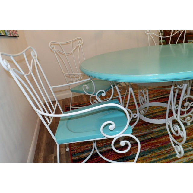 Vintage Turquoise and White Wood & Iron Dining Set For Sale - Image 9 of 12