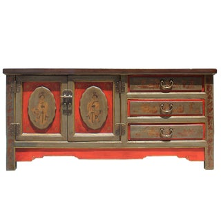 Chinese Distressed Olive Green Red Graphic Low Tv Console Table Cabinet For Sale