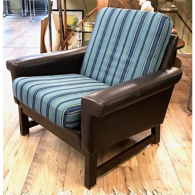 Mid Century Leather Chair With Striped Canvas For Sale - Image 9 of 9