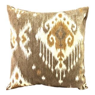 """18"""" Rust Grey Ikat Pillow Cover"""