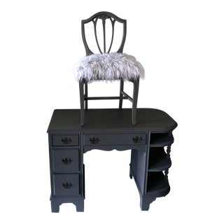 1950s Shabby Chic Gray Desk With Matching Mongolian Fur Chair - 2 Pieces For Sale