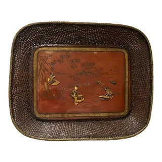 Japanese Meiji Period Mixed Metal Tray For Sale