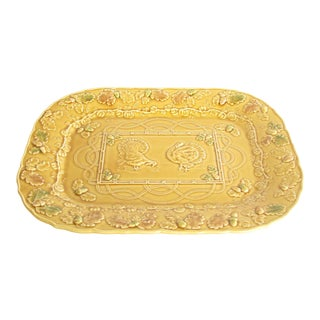 Bordallo Pinheiro Large Yellow Gold Ceramic Platter With Embossed Turkeys Leaves Acorns Pumpkins For Sale