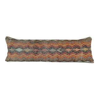 12 X 40 Inch Hippie Bedding Kilim Pillow Cover, Turkish Handwoven Wool Long Bed Cushion (30 X 100 Cm) For Sale