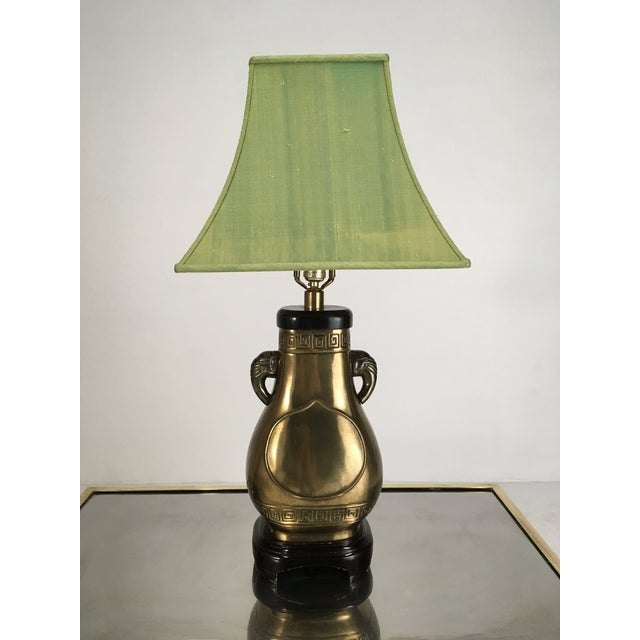 Brass Brass Paul Hanson Elephant Lamp With Green Pagoda Style Shade For Sale - Image 8 of 9