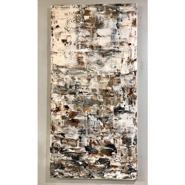 """Abstract Leila Pinto, """"Triptych Taupe Abstract"""" Acrylic On Canvas For Sale - Image 3 of 6"""