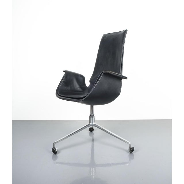 Kill International Black Blue High Back Bird Desk Chair by Fabricius and Kastholm Fk 6725, 1964 For Sale - Image 4 of 12